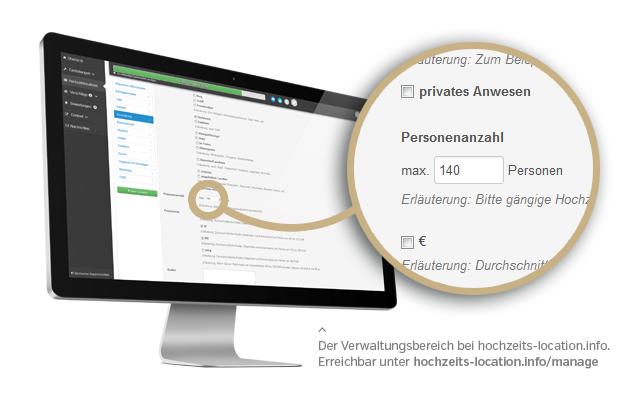 Füllen Sie in wenigen Minuten Ihre Locationdaten unter hochzeits-location.info/manage aus.